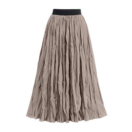 Xmiral Röcke Damen Hohe Taille Falten Einfarbig Rock A-Linie Mittellanger Röcke Elegant Wilde Abend Party Ziemlich Rock Elastische Taille(Khaki,XL)