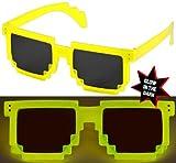 Nerd PIXEL Brillen Glow LEUCHTEN / Verschiedene Farben: Farbe: Gelb Sonnenglas