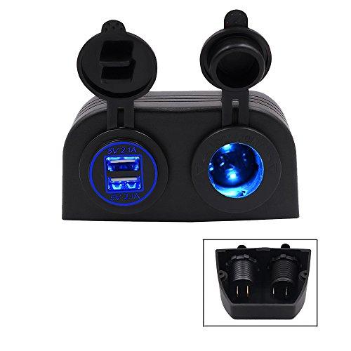 TurnRaise Motos 4.2a Dual USB cargador de coche + 12V/24V encendedor toma...