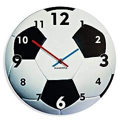 Idea Regalo - Orologio da muro moderno da calcio per bambini, 30 cm, silenzioso, acrilico, silenzioso, made in EU