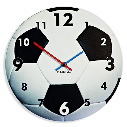 FLEXISTYLE Einzigartige Wanduhr für Kinder Fußball, leise Nicht Ticken, oval, 30 cm, Acryl, für Kinderzimmer, Kindergarten, Schule, Made in EU