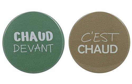 TheKitchenette Dessous de Plat Rond decore C'est Chaud ou Chaud Devant