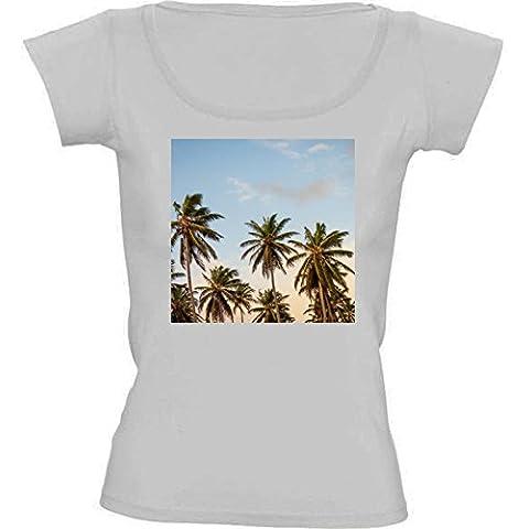 Camiseta Cuello Redondo para Mujer - Palmeras Tropicales Sol by Petra
