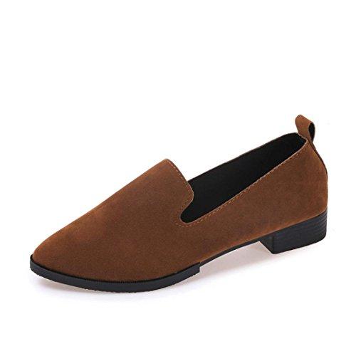 Frauen Flache Schuhe, QinMM Auf Flachen Sandalen Casual Mode Damen Spitz Schuhe (36, Braun) (Avenue Sandalen Leder)