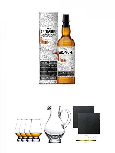 Legacy-schiefer (Ardmore Legacy Single Malt Whisky 0,7 Liter + Glencairn Glas Whiskyglas Stölzle 4 Stück + Wasserkrug Half Pint Serie The Glencairn Glass Stölzle + Schiefer Glasuntersetzer eckig ca. 9,5 cm Ø 2 Stück)