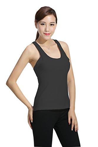 Harem Yoga Les femmes ont rempli des sports en cours d'ex¨¦cution gilet sans manches chemise de sport chemise d'yoga Black