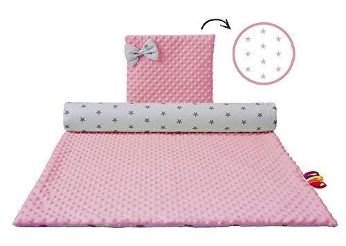 Babydecke Kuscheldecke für Baby Krabbeldecke aus MINKY Baumwolle Polyester Kinderdecke mit Kissen im SET rosa-weiß mit grauen Sternen 70x100 cm - Grau Stoff Minky