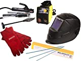 Aktionsset WELDINGER EW 140 mini MMA-/WIG-Schweißinverter Automatikhelm Elektrodensoritment Schlackehammer Handschuhe