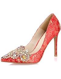 Zapatos elegantes elegantes femeninos del alto talón del dedo del pie zapatos de seda de la manera sandalias superficiales...