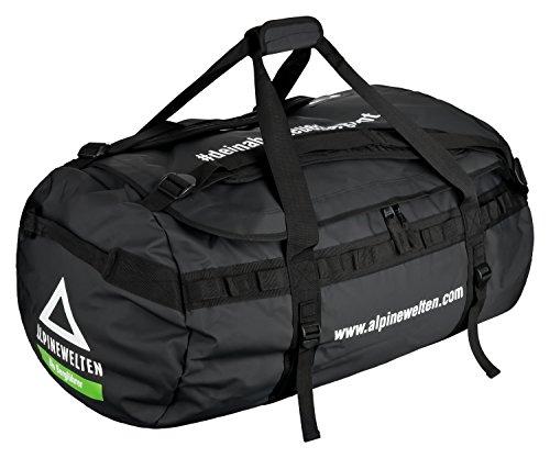 AlpineWelten® Basecamp Duffle Bag, Sporttasche mit Rucksack-Funktion für Outdoor Abenteuer-Reisen, 120 Liter, Masse 75cm * 45 cm * 45 cm, schwarz -