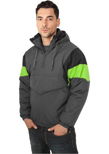 URBAN CLASSICS - Nylon Hoody (dark grey/black/lime green) - Jacke