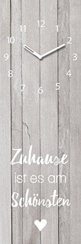 Wanduhr aus Glas, Zuhause ist es am Schönsten, Holzoptik, grau, 20x60 cm von Eurographics