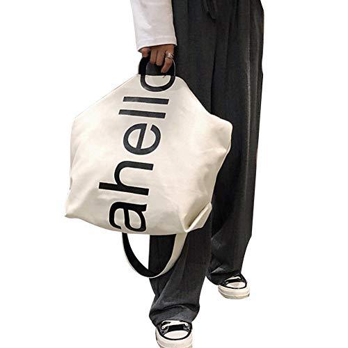GLOGLOW Frauen Casual Canvas Handtasche Brief Drucken Große Kapazität Schulter Sling Bag Umhängetasche(Weiß) -