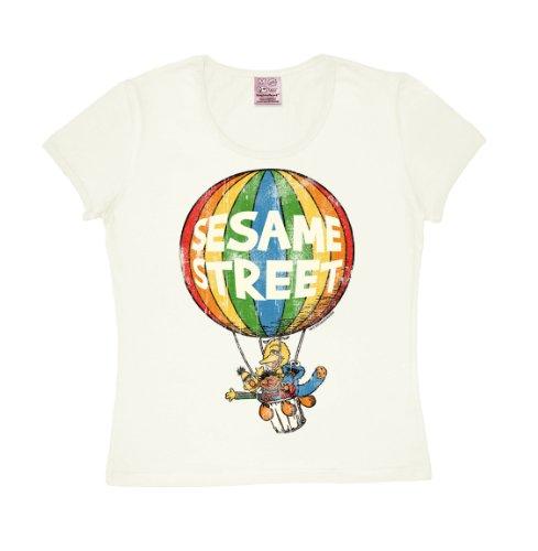 T-shirt donna Palloncino - Sesamo Apriti - Sesame Street - Balloon - maglietta girocollo di LOGOSHIRT - quasi bianco - design originale concesso su licenzataglia XS