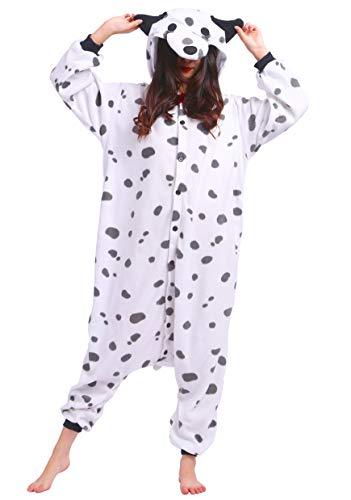 Jumpsuit Onesie Tier Karton Fasching Halloween Kostüm Sleepsuit Cosplay Overall Pyjama Schlafanzug Erwachsene Unisex Lounge Kigurumi Beschmutzter Hund for Höhe 140-187CM