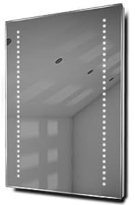 Miroirs Gaze Miroir de salle de bain LED ultra lumineux avec système de désembuage et capteur, Argent