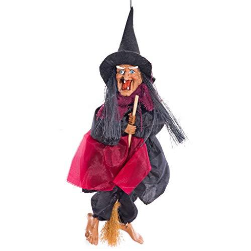 DQANIU Halloween Anhänger, Hexe Hängende Dekoration Halloween Requisiten Große Sprachsteuerung Fahrt Besen Hexe Festival Wohnkultur Hängt