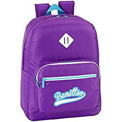 Benetton - Mochila adaptable, 32 x 43 cm, color morado (Safta 611552754)