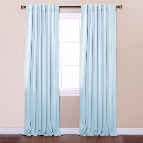 Best Home Fashion Thermal Insulated Blackout Curtains - Back Tab/ Rod Pocket - Sky Blue - 52W x 84L - No tie backs (Set of 2 Panels) by Best Home Fashion (Tie-tab-panel)