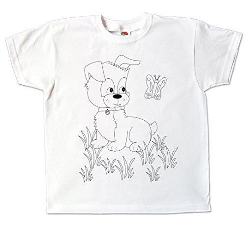 Kinder T-Shirt Hund zum bemalen mit Vordruck Kindergeburtstag Kindergarten für Jungen und Mädchen (116)