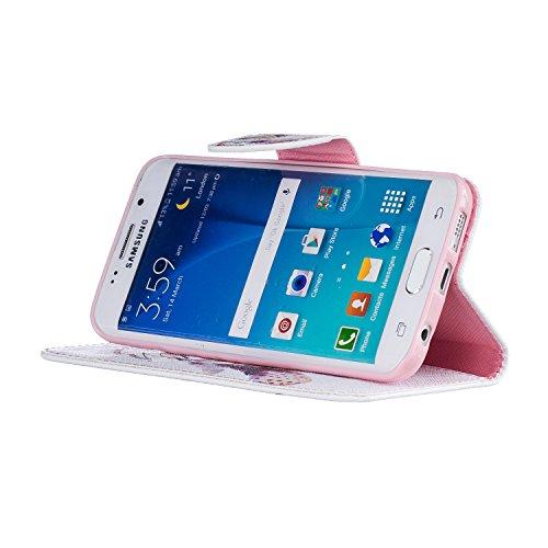 Etui Samsung S7 Edge , Anfire Fleur et Papillon Motif Peint Mode PU Cuir Étui Coque pour Samsung Galaxy S7 Edge G935F (5.5 pouces) Housse de Protection Luxe Style Livre Pochette Étui Folio Rabat Magné Attrape Reve