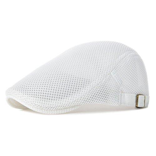 NALITARE Herren Schirmmütze Einstellbar Sommer Kappe Hut Schiebermütze Flatcap (White)
