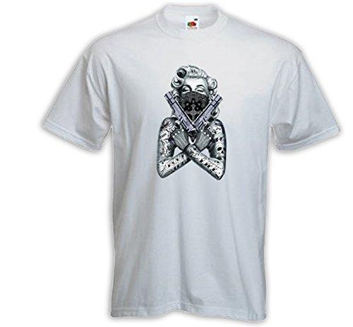 Rockabilly T-Shirt Marilyn Gun Twin weiß Hollywood Pinup V8 Tattoo Weiß