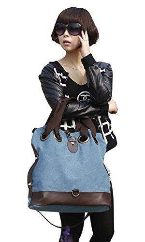 Damen Handtasche Vintage Umhängetasche Canvas Shopper Tasche Schultertasche Große Freizeittasche Tragetasche Blau