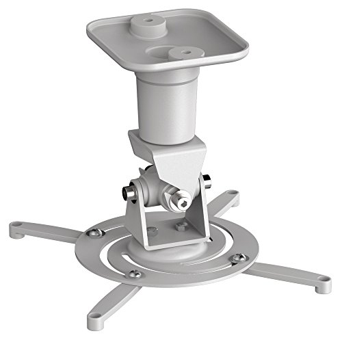 PureMounts PM-SPIDER-PLUS-W Beamer Deckenhalterung, neigbar 25°, drehbar, Deckenabstand: 225mm, Traglast max. 15kg, Lochabstand 180-310mm, weiß