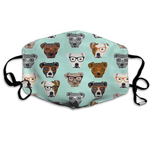 Pitbull in Brille - süße Hunde Pitty Pitbull Dog Design Anti-Staub-Maske, Anti-Verschmutzung, waschbar, wiederverwendbare Mundmasken