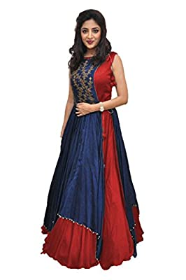 Radha Raman Fashion Women's Banglory Gown With Jacket Spacial For Every occasion (Red Color,Free Size,RRF05)