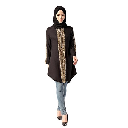 uslimische Frauen Islamic Print Plus Size Muslimischen Service Tops Einfache Bluse Pullover Sommerhemd T-Shirt Sweatshirts Pulli Blusentop Sommerbluse Tanktops (M, Schwarz) ()