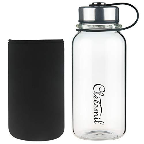 Cleesmil Trinkflasche Glas Wasserflasche mit Neoprenhülle, BPA-frei, Auslaufsicher 600 ml / 1000 ml