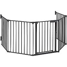 oneConcept Safety-First Rejilla para chimenea (cerca de protección pasillo o escaleras, puerta con cierre de seguridad, 3 metros de ancho) - negro