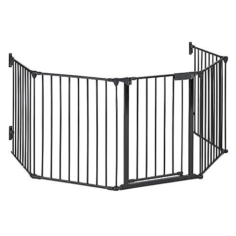 oneConcept Grillage de protection (3m, métal, Idéal pour barrer les zones dangereuses, porte avec fermeture de sécurité, vis et chevilles inclus) -