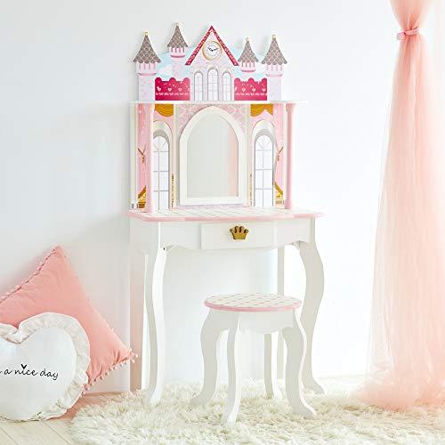Teamson Kids TD-12951A Castle Kinder Schminktisch, weiß/pink Preisvergleich