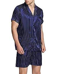 Conjunto de Pijamas de satén de Seda para Hombre Conjunto de Ropa de Dormir Mangas Cortas