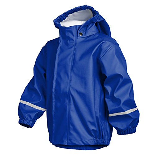 smileBaby wasserdichte Kinder Regenjacke Regenmantel mit abnehmbarer Kapuze Unisex in Blau 92