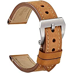 WOCCI Correa Reloj Vintage de Cuero Genuino, Correa de 20mm/22mm/24mm, Ideal para Hombres (Marrón Claro)