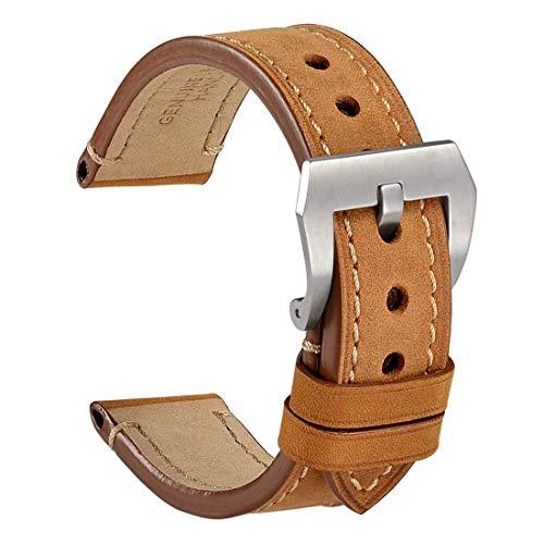 WOCCI Correa Reloj Vintage de Cuero Genuino, Correa de 20mm/22mm/24mm,