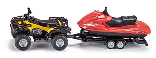 SIKU 2314, Quad mit Anhänger und Jet-Ski, 1:50, Metall/Kunststoff, Gelb/Rot, Abnehmbarer Anhänger, Schwimmfähiger Jet-Ski