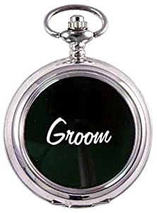 Personalised Chrome and Black Groom Wedding Pocket Watch, Engraved with your message