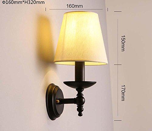 LIYAN minimalistische Wandleuchte Wandleuchte E26/E5022Idyllische retro dekorative Wand Streuscheibe Schlafzimmer Gewebe Nachttischlampe Spiegel vordere Scheinwerfer, W 2104-1 gelbes Licht