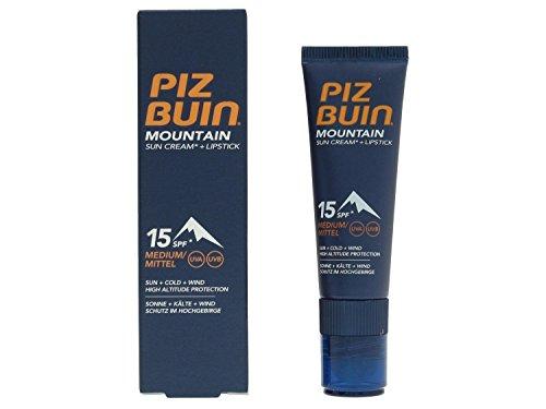 Piz Buin - Mountain Combi - Crème solaire FPS 15 / Baume à lèvres - 20 ml - Lot de 2