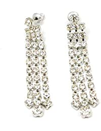 The Olivia Collection Silvertone Clear Resin Set 3 Strand Drop Earrings