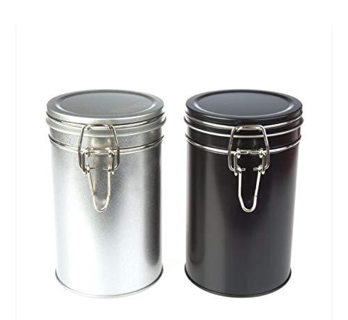 Tee- und Kaffeedose, luftdicht, 850 ml, große Behälter, Schwarz/Silber (Schwarz, 6) 850ML Schwarz