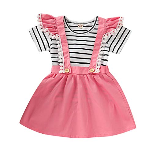 fb919231e9ca3 Anglewolf Girl Dress Fashion Baby Girls Infant Toddler Kids Clothes Stripe  Bow Princess Outfits Floral Sleeveless Jumpsuit Tops+Solid Lace Overalls ...
