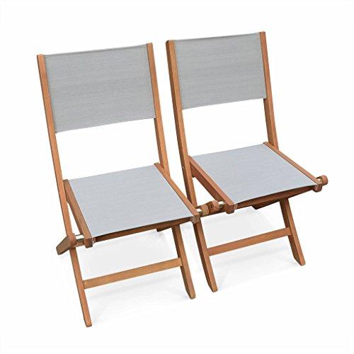 Alice's Garden - Chaises de Jardin en Bois et textilène - Almeria Gris Taupe - 2 chaises Pliantes en Bois d'Eucalyptus FSC huilé et textilène