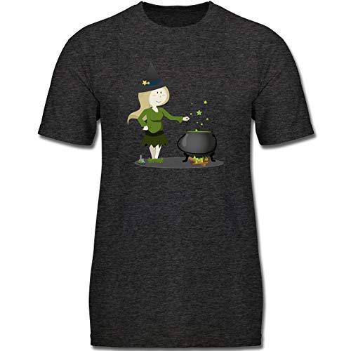Anlässe Kinder - kleine Hexe - 164 (14-15 Jahre) - Anthrazit Meliert - F130K - Jungen Kinder T-Shirt
