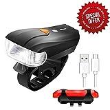 Sets d'éclairage Avant et Arrière pour Vélo LED,SGODDE Phare de vélo 400Lumens+150Lumens(Arrière) 5 Modes Rechargeable avec Câble USB(Inclus) Intélligent de Détection Imperméable pour VTT